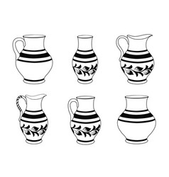 set of ceramic crockery in black and white colors vector image