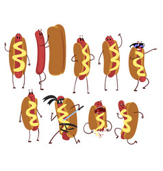 Set of funny cartoon hot dog character in action vector
