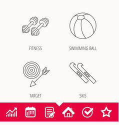 Sport fitness swimming ball and skis icons vector