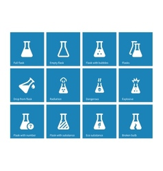 Test tube and flask icons on blue background vector image