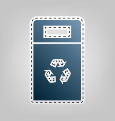 Trashcan sign blue icon with vector