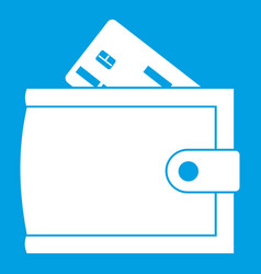 Wallet with credit card and cash icon white vector