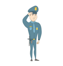 Young caucasian police officer saluting vector