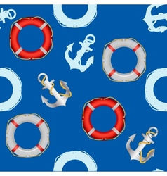 Anchor stencil and lifebuoy seamless pattern vector