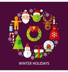 Winter holidays postcard vector