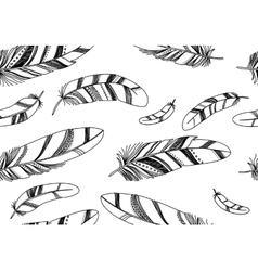 Seamless pattern with black feathers on a white vector image