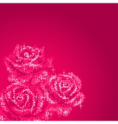 glitter roses pink vector image