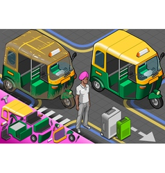 Isometric indian rickshaw in front view vector