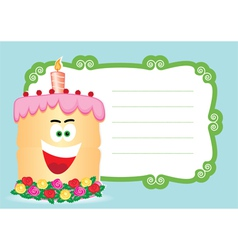 Cake with candle for birthday postcard vector