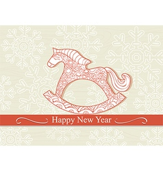 Happy new year card with a rocking horse vector