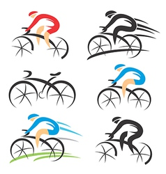Icons with stylized cyclist vector