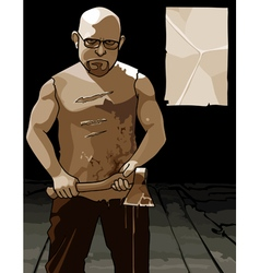 Formidable man with glasses and with an ax and vector