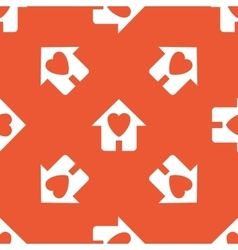 Orange love house pattern vector
