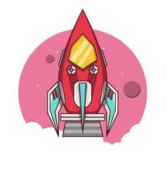 Red rocket take off to the space vector