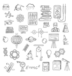 Physics chemistry and astronomy science sketches vector