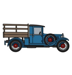 Vintage blue lorry vector