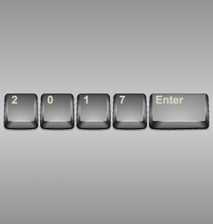 Year 2017 button on modern computer keyboard image vector