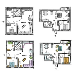 Apartment plan with furniture vector