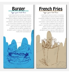 Banners of fast food design with french fries and vector image vector image