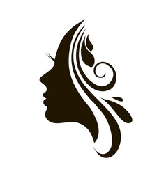 Beautiful woman face and hair fashion icon vector