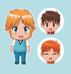 Blue color set cute anime tennagers with several vector