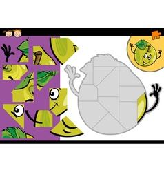 Cartoon apple jigsaw puzzle game vector