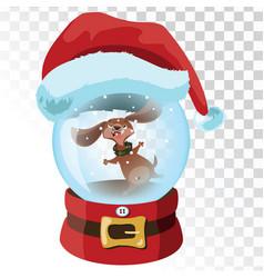 Christmas glass magic ball with a dog a vector