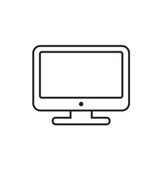 Computer in line style monitor flat icon tv symbol vector
