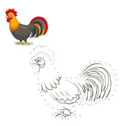 Connect the dots game rooster vector image vector image