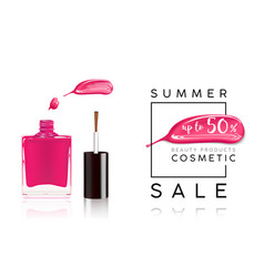 cosmetics sale banner with nail polish and pink vector image vector image