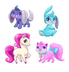 Cute cartoon animals icons set vector