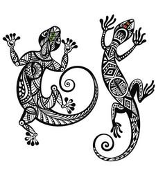 decorative lizard set vector image vector image