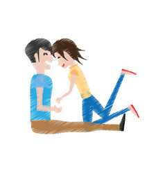 Drawing couple love playing in floor vector