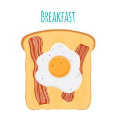 english breakfast - toast egg bacon vector image vector image