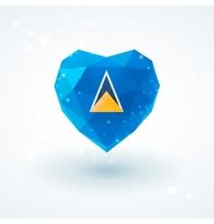 Flag of saint lucia in shape diamond glass heart vector