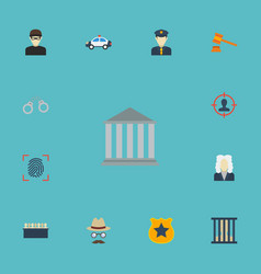 Flat icons policeman judge gavel jury and other vector