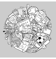 Freehand school items in a pile vector