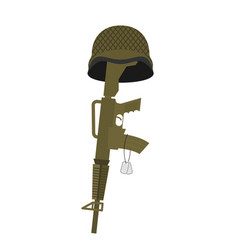 grave soldier helmet and gun instead of cross vector image