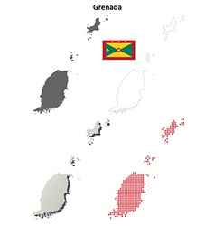 Grenada outline map set vector