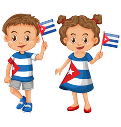 Happy boy and girl holding flag of cuba vector