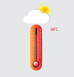 Hot thermometer on a gray background vector image