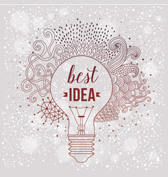 Light bulb made of handdrawn doodles creative vector