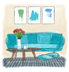 living room colored painting vector image