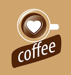 Logo cup of coffee and heart vector