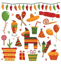 Mexican party objects vector