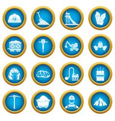 Miner icons blue circle set vector
