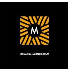 Modern monogram emblem logo square of the vector