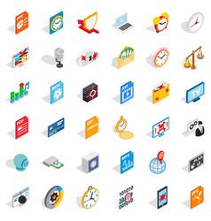 multimedia icons set isometric style vector image