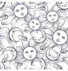 Pajamas sun and moon seamless pattern vector image vector image