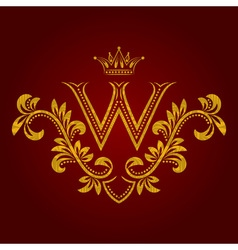 Patterned golden letter w monogram in vintage vector